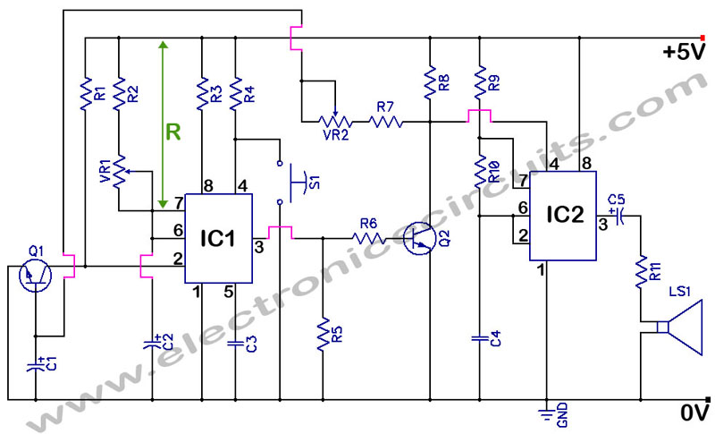 2 1 Door Bell likewise RoomThermostat further Transistor tester circuit using 555 timer further Home Security Alarm further Password Based Door Lock System Using 8051 Microcontroller. on transistor door alarm circuit a